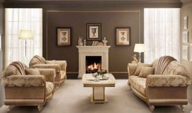 Fantasia Contemporary Living Room Set in Gold & Beige, Light Brown