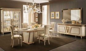 Fantasia Dining Room Set in Gold & Beige