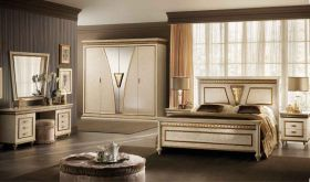 Fantasia Night Bedroom Set in Gold & Beige - Bedroom View