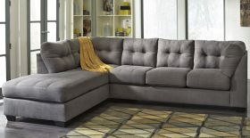 Flash Benchcraft Maier Sectional with Left Side Facing Chaise in Charcoal Microfiber