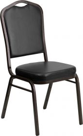 HERCULES Series Crown Back Stacking Banquet Chair with Black Vinyl and 2.5'' Thick Seat - Gold Vein Frame [FD-C01-GOLDVEIN-BK-VY-GG]