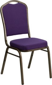 HERCULES Series Crown Back Stacking Banquet Chair with Purple Fabric and 2.5'' Thick Seat - Gold Vein Frame [FD-C01-PUR-GV-GG]