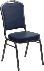 HERCULES Series Crown Back Stacking Banquet Chair with Navy Vinyl and 2.5'' Thick Seat - Silver Vein Frame [FD-C01-SILVERVEIN-NY-VY-GG]