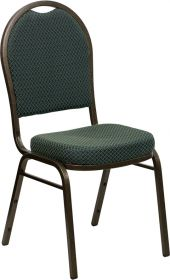 HERCULES Series Dome Back Stacking Banquet Chair with Green Patterned Fabric and 2.5'' Thick Seat - Gold Vein Frame [FD-C03-GOLDVEIN-4003-GG]