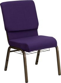 HERCULES Series 18.5''W Royal Purple Fabric Church Chair with 4.25'' Thick Seat, Communion Cup Book Rack - Gold Vein Frame [FD-CH02185-GV-ROY-BAS-GG]