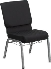 HERCULES Series 18.5''W Black Patterned Fabric Church Chair with 4.25'' Thick Seat, Communion Cup Book Rack - Silver Vein Frame [FD-CH02185-SV-JP02-BAS-GG]
