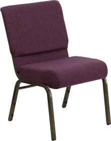 HERCULES Series 21'' Extra Wide Plum Fabric Stacking Church Chair with 4'' Thick Seat - Gold Vein Frame [FD-CH0221-4-GV-005-GG]