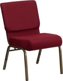 HERCULES Series 21'' Extra Wide Burgundy Fabric Stacking Church Chair with 4'' Thick Seat - Gold Vein Frame [FD-CH0221-4-GV-3169-GG]