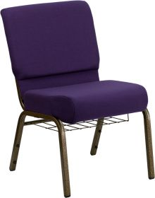 HERCULES Series 21'' Extra Wide Royal Purple Fabric Church Chair with 4'' Thick Seat, Communion Cup Book Rack - Gold Vein Frame [FD-CH0221-4-GV-ROY-BAS-GG]