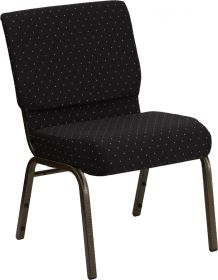 HERCULES Series 21'' Extra Wide Black Dot Patterned Fabric Stacking Church Chair with 4'' Thick Seat - Gold Vein Frame [FD-CH0221-4-GV-S0806-GG]
