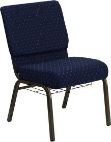 HERCULES Series 21'' Extra Wide Navy Blue Dot Patterned Fabric Church Chair with 4'' Thick Seat, Communion Cup Book Rack - Gold Vein Frame [FD-CH0221-4-GV-S0810-BAS-GG]
