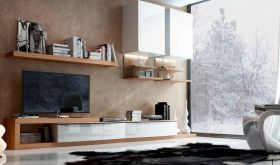 Fenicia Mobiliario Composition 8 Wall Unit in Light Walnut & White