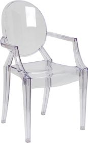 Ghost Chair with Arms in Transparent Crystal [FH-124-APC-CLR-GG]