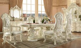 Flagami Traditional Dining Room Set in White Gloss