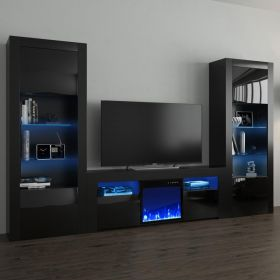 Fort Modern Electric Fireplace Wall Unit Entertainment Center