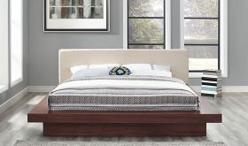 Freja Fabric Queen Platform Bed in Walnut Beige