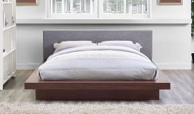 Freja Fabric Queen Platform Bed in Walnut Gray