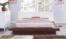 Freja Vinyl Queen Platform Bed in Walnut White