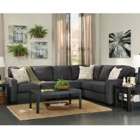 Signature Design By Ashley Alenya 3-Piece RAF Sofa Sectional in Charcoal Microfiber [FSD-1669SEC-3RAFS-CH-GG]