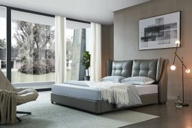 Simeon Modern Leather Bed with Storage in Grey
