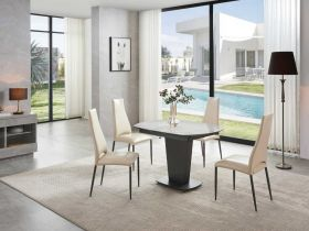 Alto Modern Dining Set in White Grey & Beige