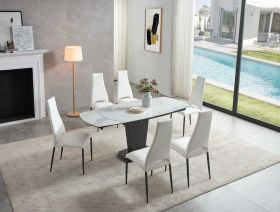 Peta Modern Dining Set in White Grey & White