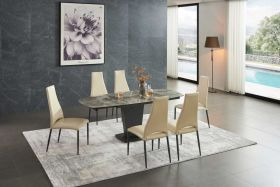 Palm Modern Dining Set in Brown Grey & Beige