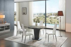 Palo Modern Dining Set in Brown Grey & White
