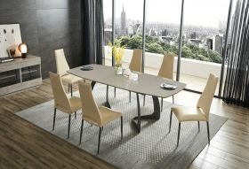 Oraibi Modern Dining Set in Grey & Beige