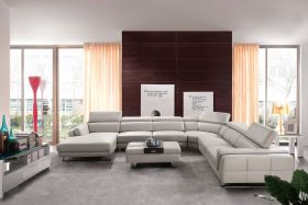 Cordoba Leather L-Shaped Left Sectional Sofa in Light Grey