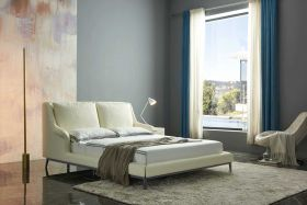 Rafael Modern Leather Bed in Off White Cream