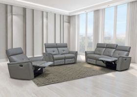 Gallup Modern Leather Living Room Set with Manual Recliners in Dark Grey