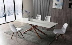 Deming Modern Dining Set in Off White & Walnut
