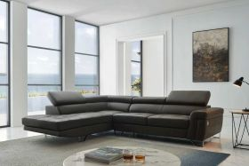 Boro Modern Leather Sectional Sofa in Dark Gray