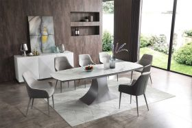 Dega Modern Dining Set in White & Gray