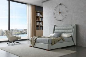 Shelton Modern Leather Bed with Storage in Light Grey