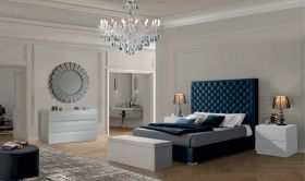 Boone Modern Bedroom Set with Storage in Blue