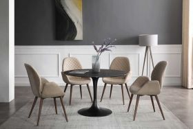 Loosa Modern Dining Set in Black & Light Beige