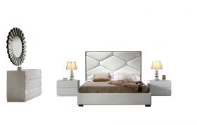 Ilion Modern Bedroom Set with Storage in White