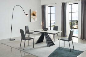 Phenix Modern Dining Set in White/Black & Grey