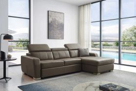 Scotts Modern Leather Sectional Sofa with Bed in Grayish Brown Taupe