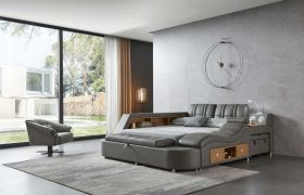 Cocoa Modern Leather Queen Bed with Storage in Dark Grey