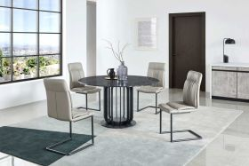 Tusca Modern Dining Set in Black & Gray/Silver