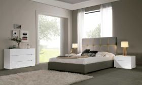 Mandan Modern Bedroom Set with Storage in Grey-Yellow & White