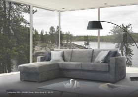 Galla Modern Sectional with Bed in Dark Grey