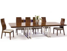 Clara Modern Dining Room Set in Walnut Lacquer