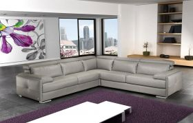 J&M Gary Italian Leather Sectional Sofa in Ash Grey