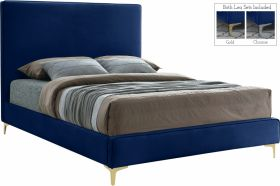 Visalia Contemporary Velvet Bed in Navy