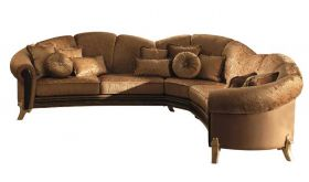 Giotto Contemporary Corner Sofa in Gold & Brown