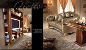 Giotto Contemporary Living Room Set in Gold & Brown